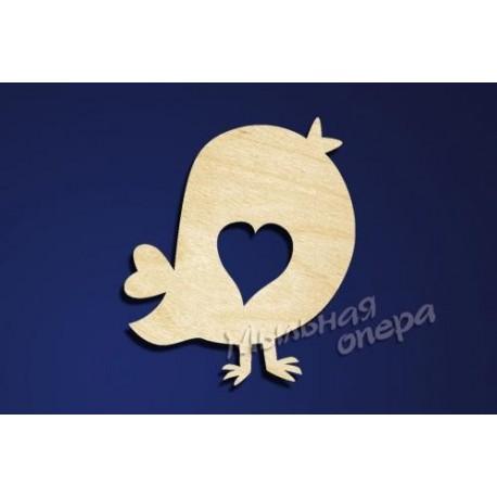 Заготовка для декупажа Бирка Птичка с сердцем