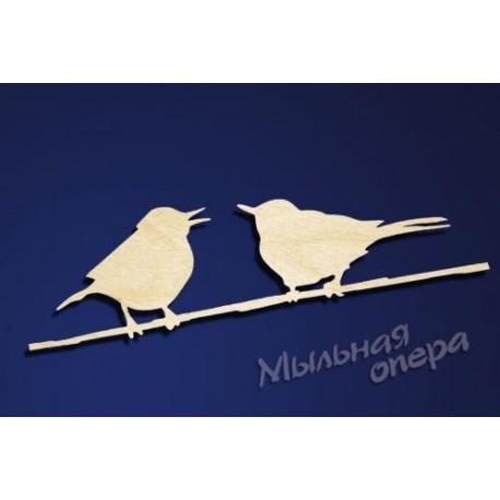 Заготовка для декупажа Бирка Две птицы на ветке