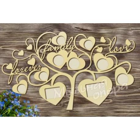 Фоторамка Дерево с сердечками