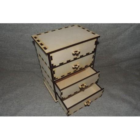 Заготовка для декупажа Комод 4 ящика, размеры 19*13*25