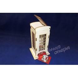 Заготовка для декупажа Чайный домик одинарный Телефонная будка, размеры 9х9х21 см