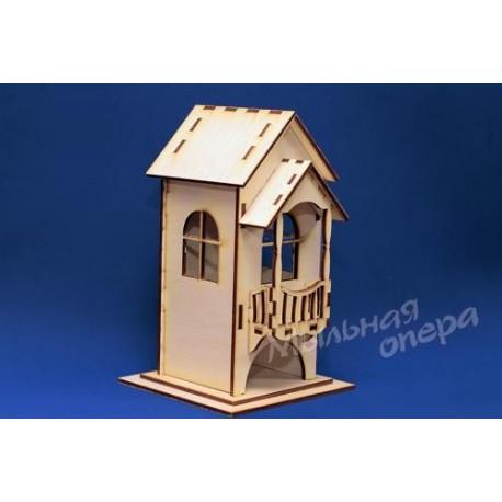 Заготовка для декупажа Чайный домик с балконом, размеры 13х16х22 см