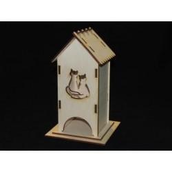 Заготовка для декупажа Чайный домик одинарный Кошки, размеры 9х9х21 см