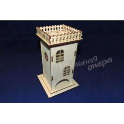 Заготовка для декупажа Чайный домик одинарный Крыша-забор, размеры 9х9х21 см
