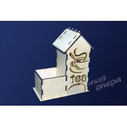 Заготовка для декупажа Чайный домик одинарный с одной конфетницей Tea, размеры 9х17х21 см