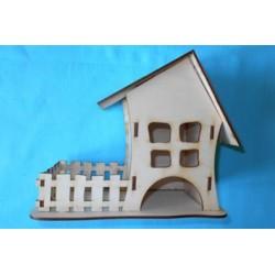 Заготовка для декупажа Чайный домик одинарный с забором, размеры 12х17х21 см