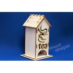 Заготовка для декупажа Чайный домик одинарный Tea, размеры 9х9х21 см