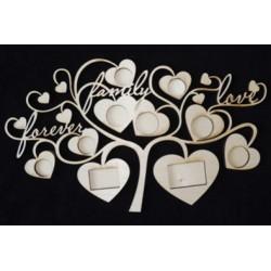 Фоторамка Дерево с сердечками, размеры 30х50 см. Без фурнитуры.