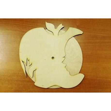 Заготовка для декупажа Часы Силуэт на яблоке 25х25 см