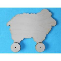 Заготовка для декупажа игрушка Барашек на колесиках, размеры 16х18 см