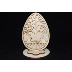 Заготовка для декупажа Яйцо пасхальное дерево с кроликами, размеры 9х13 см