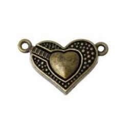 Застёжка магнитная Сердце, цвет античная бронза