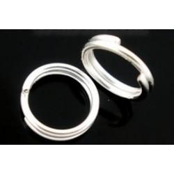 Колечки разрезные с двойной петлей, цвет серебро, диаметр 5 мм.