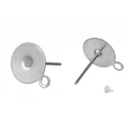 Серьги круглые, цвет серебро, длина 12,5 мм, размеры 6х8 мм