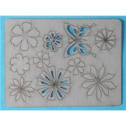 Заготовка для скрапбукинга Чипборд Бабочка и цветы, размеры 15x20 см