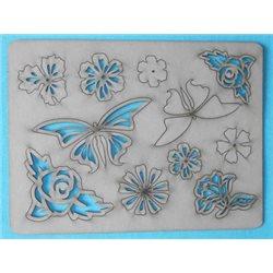 Заготовка для скрапбукинга Чипборд Бабочки и розы, размеры 15x20 см