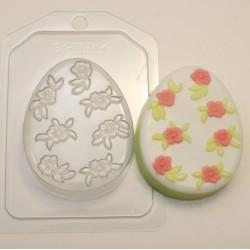 Форма ПВХ Яйцо плоское с мелкими цветами