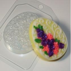 Форма ПВХ Яйцо плоское с орнаментом и цветами