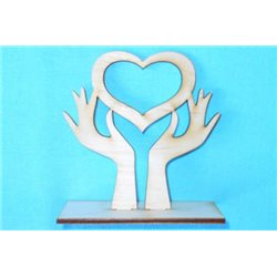 Заготовка для декупажа Подставка Сердце в руках, размеры 10х10 см