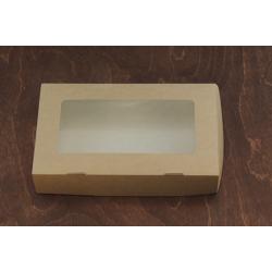 Коробочка крафт с окошком 20*12*4