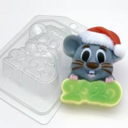 Форма ПВХ Мышь в новогодней шапке