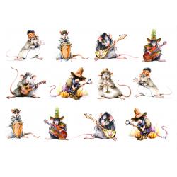 Картинки на Водорастворимой бумаге Мыши-музыканты